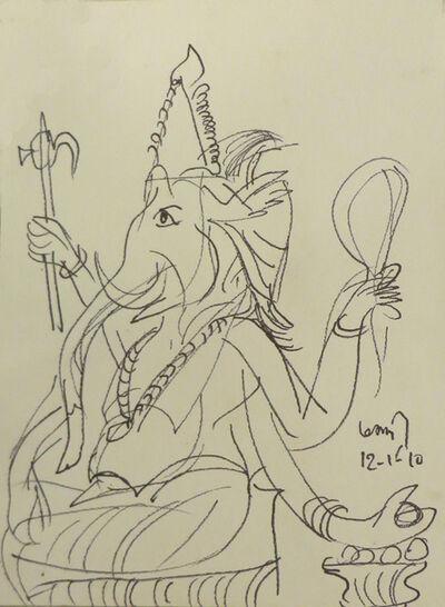 K. G. Subramanyan, 'Ganesha, charcoal drawing, mythology by Master Modern Indian artist K.G. Subramanyan', 2010