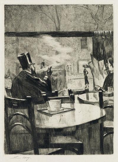Lesser Ury, 'Herr mit Zylinder vor einem Kaffeehausfenster — in Rückenansicht.', 1923