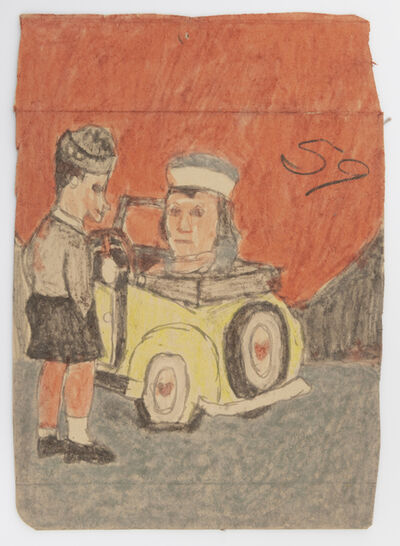 James Castle, 'Untitled (Yellow car and two figures)', n.d.