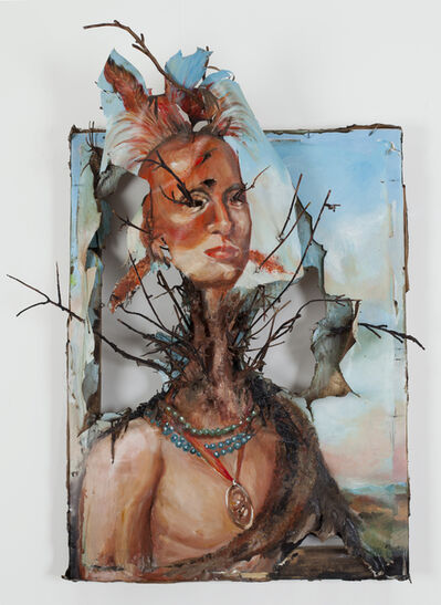 Valerie Hegarty, 'Native American Chief (Sharitarish) with Branches', 2013