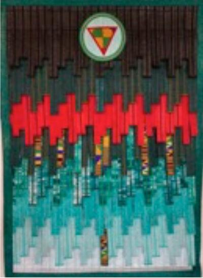 Abdoulaye Konaté, 'Vert rouge et kente (cercle-et-triangle)', 2020
