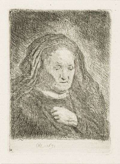 Rembrandt van Rijn, 'The Artist's Mother with Her Hand on her chest', 1631