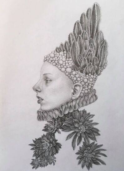 Chikako Okada, 'Infanta Dolor / graphite pencil drawing, woman with cactus and succulents', 2019