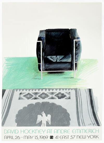 David Hockney, 'Vintage 1969 David Hockney Poster, Corbusier Chair, Andre Emmerich Gallery', 1969