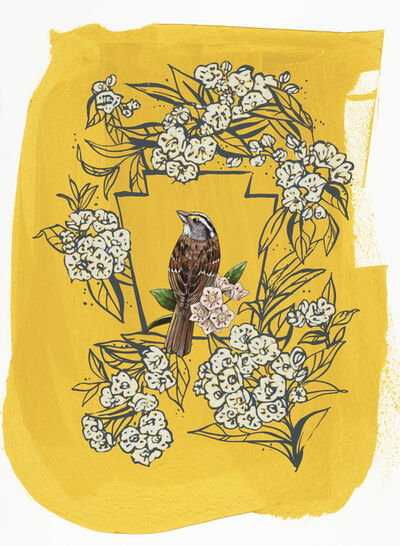 Ashley Cecil, 'White-throated Sparrow on Yellow', 2016