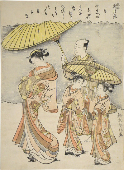 Suzuki Harunobu, 'Fashionable Snow, Moon and Flowers: Snow'