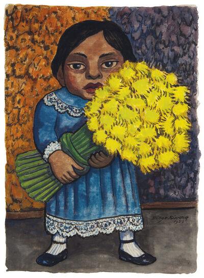 Diego Rivera, 'Niña con flores amarillas', 1950