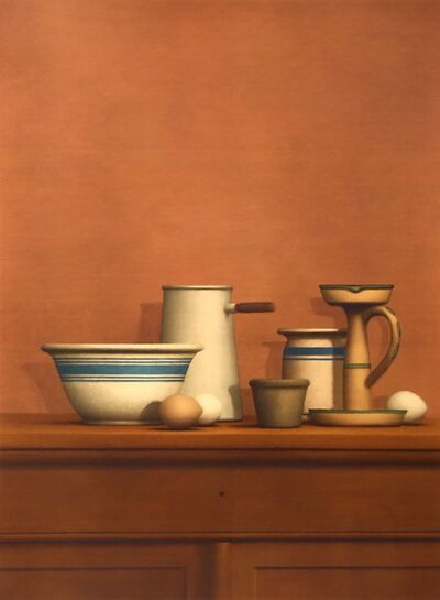William Bailey, 'Still Life with Eggs, Candlestick and Bowl', 1976