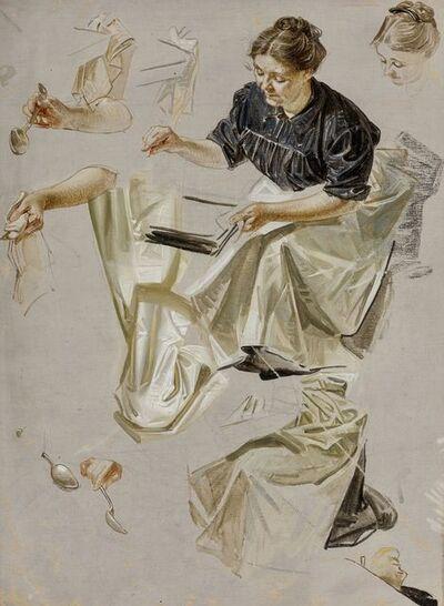 Joseph Christian Leyendecker, 'Basting the Turkey, Saturday Evening Post Cover Study', 1912