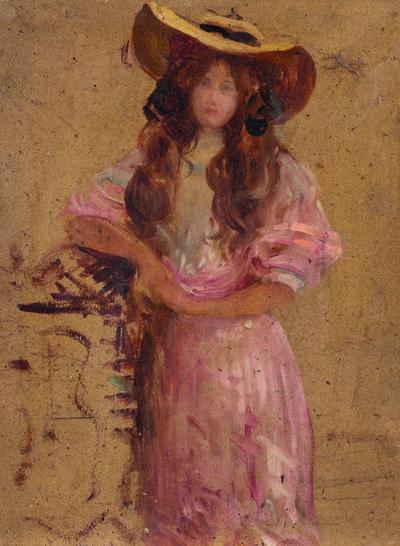 Attributed to Julie Manet, 'Jeune fille au chapeau'