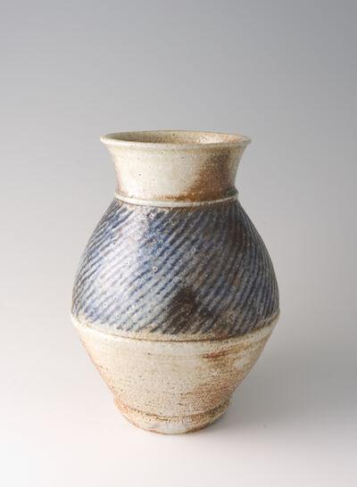 Tatsuzo Shimaoka, 'Vase, rope and slip inlay with cobalt blue salt glaze'