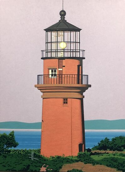 "Rob Brooks, '""Gay Head Light"" photorealistic oil painting of a brick lighthouse on Martha's Vineyard', 2019"