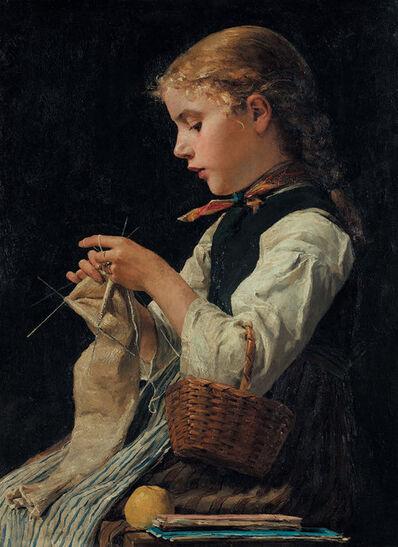 Albert Anker, 'Strickendes Mädchen', 1884