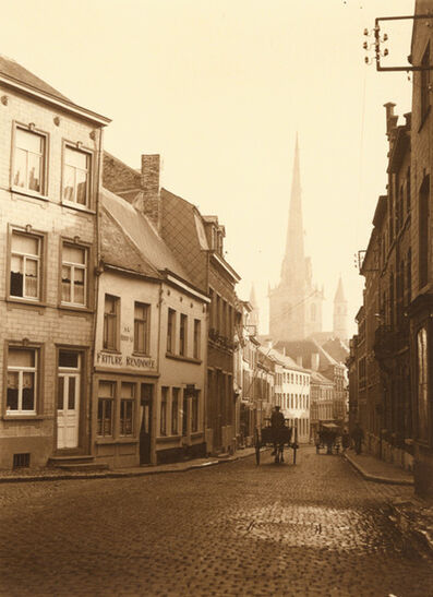Léonard Misonne, 'A Cobblestone Street with Horse Carriages in Nivelles, Belgium', 1930s