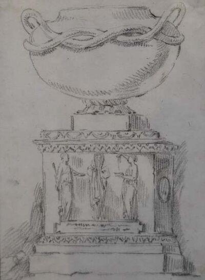 Anicet-Charles-Gabriel Lemonnier, 'Study of an antique vase on a pedestal', ca. 1780