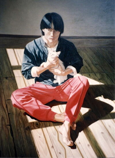 Shen Wei 沈伟 (b. 1968), 'Self Portrait: Shen Wei Sitting with Cat', 1994