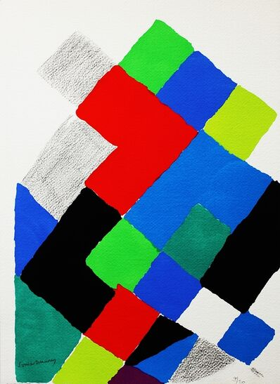 Sonia Delaunay, 'Geometric abstraction with hand drawing from Estate of Elaine Lustig Cohen', 1973