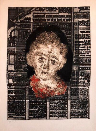 Zvi Milshtein, 'Portrait of Woman on Typeface French Jewish Surrealist Aquatint Etching Judaica', 20th Century