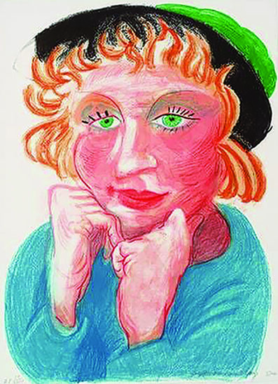 David Hockney, 'Celia with a Green Hat', 1984