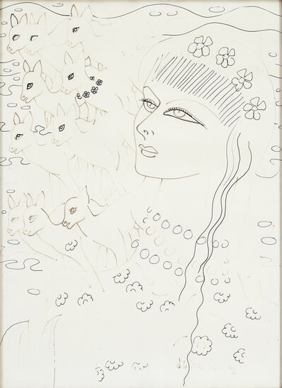 Aly Ben Salem, 'Woman with deer', ca. 1970s
