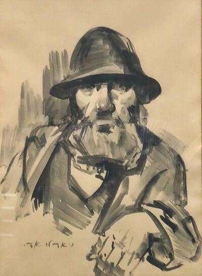 Adolf Adler, 'Israeli Judaica Rabbi Expressionist Gouachel Painting', Mid-20th Century