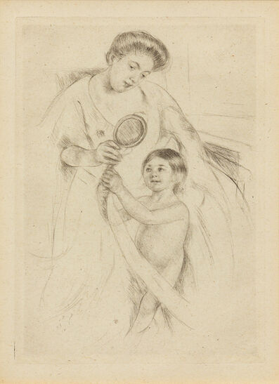 Mary Cassatt, 'Looking into the Hand Mirror #3 (printed after 1926)'