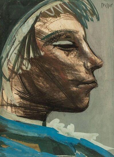 Josef Presser, 'Expressionist Profile Portrait', Mid-20th Century