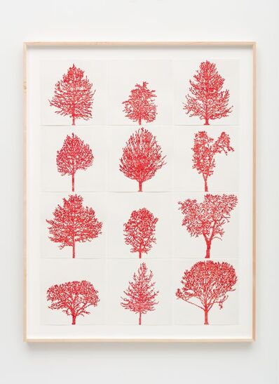 Charles Gaines, 'Numbers and Trees: Assorted Trees #1, Red Trees', 2019