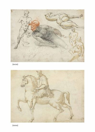 Cherubino Alberti, 'Studies of male and female nudes, a satyr, a camel and other beasts (recto), The Marcus Aurelius equestrian statue (verso)'