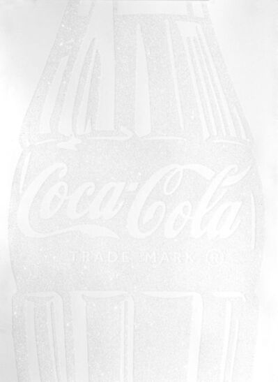 Cey Adams, 'Single Coca-cola (white on white) with Diamond Dust', 2017