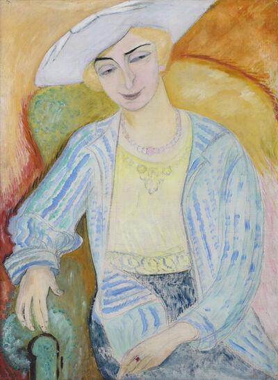 Sigrid Maria Hjertén, 'Dam i vit hatt', ca. 1917
