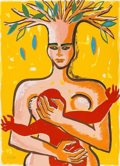 Elvira Bach, 'Frau mit Kind im Arm, aus ihrem Kopf ein Baum spriessend (from Columbus: In Search of a New Tomorrow)', 1992