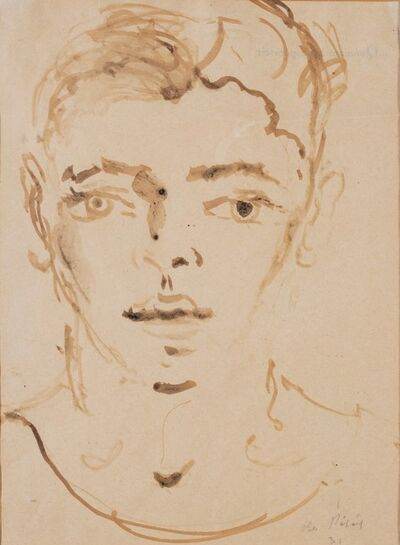 Filippo De Pisis, 'Young boy face', 1931