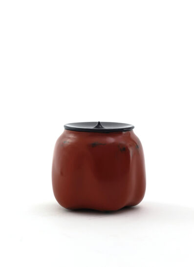 Jihei Murase, 'Vermilion lacquer medicine-container shaped sculpted tea caddy, Negoro style', 2017