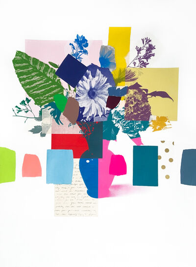 Emily Filler, 'Paper Bouquet (pink + blue + red vase)', 2020