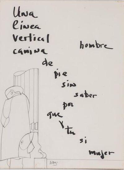 Valerio Adami, 'Una Linea Vertical Camina De Pie Sin Saber Poque Y Tu Si Mujer'