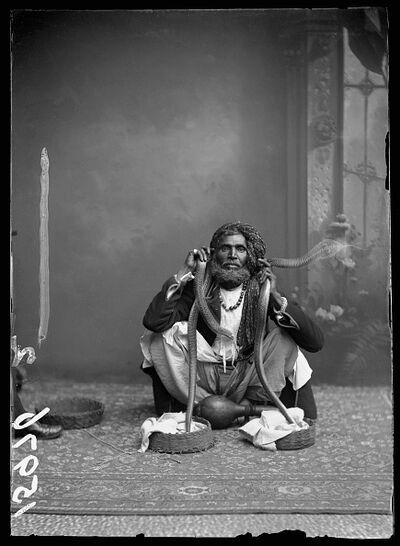 London Stereoscopic Co., 'Indian Snake Charmer', 1885