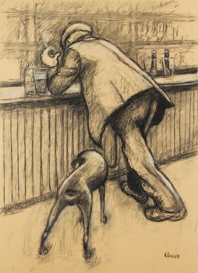 Norman Cornish, 'Smoking man at bar with dog (double sided)', ca. 1965