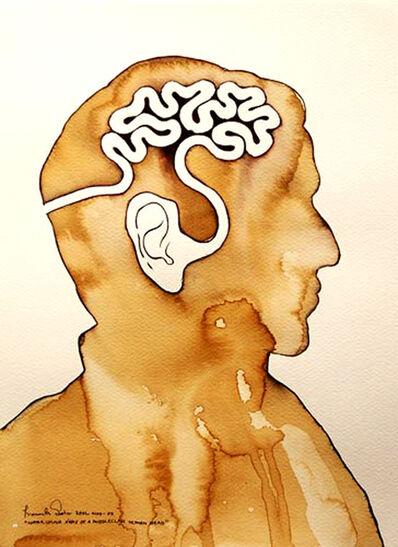 Prasanta Sahu, 'Water color X ray of a Middle Class Human Head, figurative, Brown, white Mixed Media by Indian Artist Prasanta Sahu', 2009