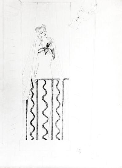 Jean Cocteau, 'Elegante a sa fenêtre et oiseau messager', ca. 1935