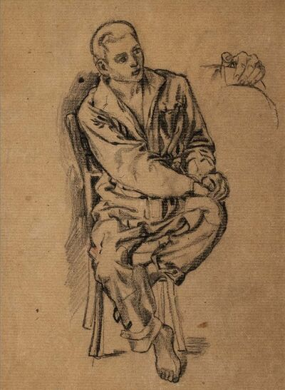 Mirko, 'Study for young sitting man', 1944