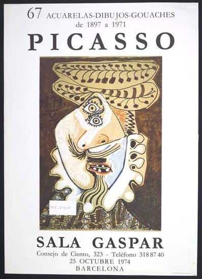 Pablo Picasso, 'Picasso Vintage Exhibition Poster in Barcelona Sala Gaspar', 1974