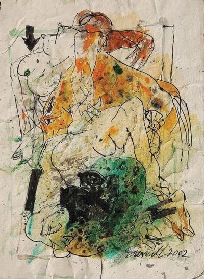 "Sunil Das, 'Colour Based Drawings III, Watercolour, Pen & Ink on Handmade Paper by Indian Artist Sunil Das ""In Stock""', 2002"