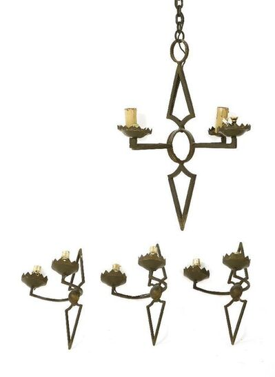 Attributed to Agostini, 'A wrought iron four-light chandelier'