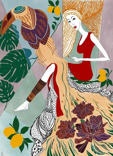 Hanna Horiachkina, 'Lady in red borrowed Toucan's feather', 2019