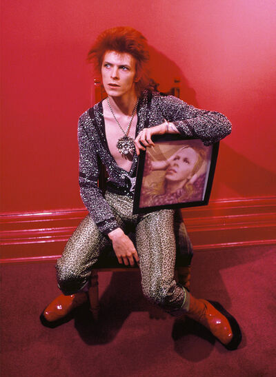 Mick Rock, 'David Bowie with Hunky Dory Cover at Haddon ', 1972