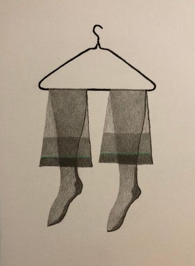 George Schneeman, 'Untitled Still Life Hanging Tights in Green, Figurative Poetry Lithograph', 1980-1989
