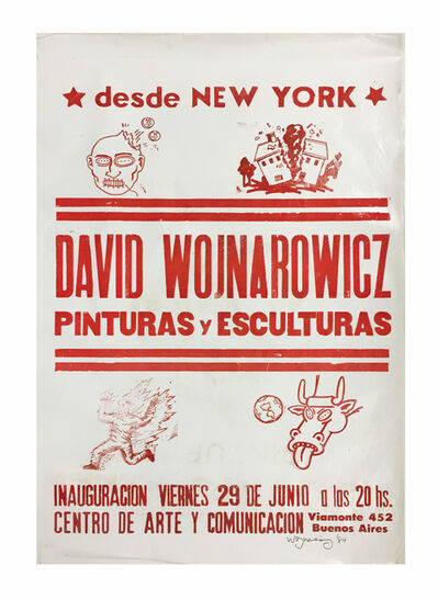 David Wojnarowicz, 'Buenos Aires poster (red on white)', 1984