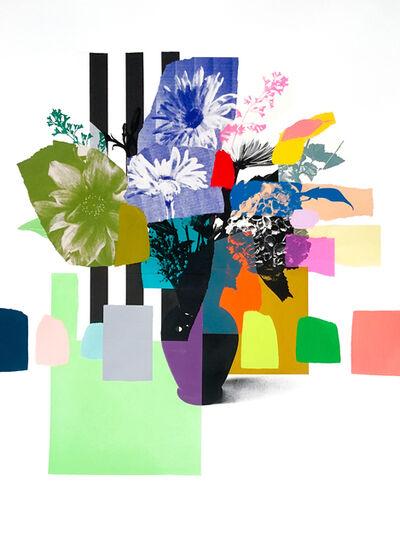 Emily Filler, 'Paper Bouquet (purple vase + stripes)', 2020