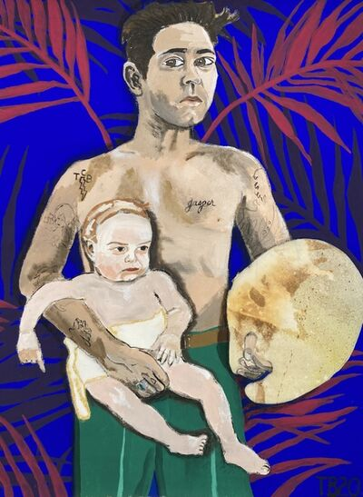 Theodore Buyer, 'Self portrait with palette and baby (Jasper)', 2020